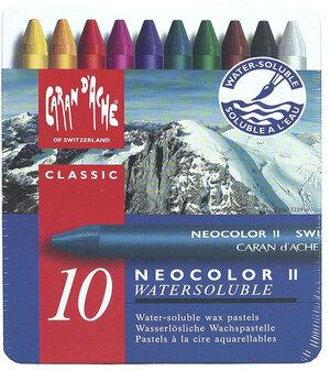 Caran d'Ache Neocolor II , 10 Farben wasserlöslich, ungiftig, in Metallschachtel 24310