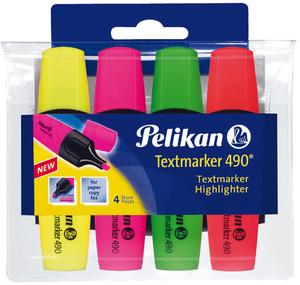 Pelikan Textmarker-Etui, 4-er Set gelb, grün, pink und orange, Pelikan 65279136
