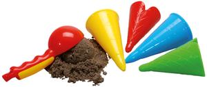 Gowi Sandformen Eiscreme-Set 5-teilig im Netz, 4 Eistüten und ein Eisportionierer 71110558