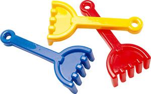 Rechen, Farben ass. 21 cm, Kunststoff rot, blau, gelb 71220165