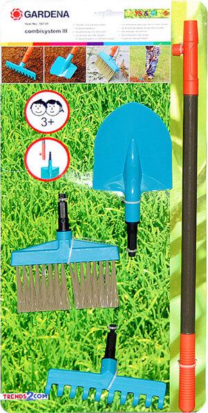 Gardena Gartenset 4-teilig 3 Geräte ca. 24 cm, mit Stiel zum Wechseln 71250131