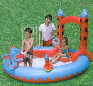 Diverse Spielcenter Pool Burg 221x193x150 cm mit Ringwurfspiel und interaktivem Drachen 78008002