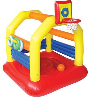 Royalbeach Hüpfburg Sport Jump 160x160x180 cm, mit 4 Ringen und 1 Ball, Basketballkorb 78016049