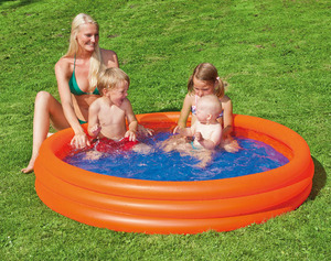 HAPPY PEOPLE Pool Uni, ø 100 cm Höhe ca. 23 cm, lichtechte PVC-Folie, 3 Luftkammern 78077710