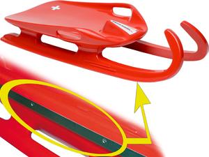 Swiss Rodel 2 Federstahlkufen rostfrei rot,L:90cm x B:40cm 79010803