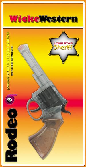 Sohni-Wicke Pistole Rodeo 100-Schuss 20 cm, Kunststoff, brauner Griff, Blisterkarte 7940423