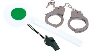 FRIES Party-Chic Polizei Set, 3-teilig Signalkelle, Handschellen, Trillerpfeife 80710143