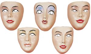 Maske Junge Frau, Plastik assortiert 81940881