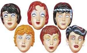 Maske Frau mit Haar, Plastik assortiert 81940882