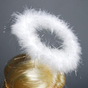 Wilbers Karneval Haarreif Heiligenschein aus weissen Federchen 82515302