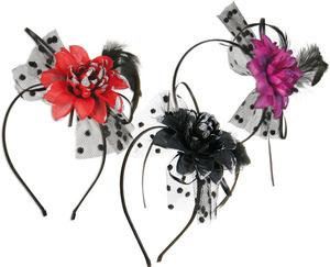 FRIES Party-Chic Haarreif Blüte, 3-fach (eines wird geliefert ass. rot, schwarz, lila, mit Feder 82515326