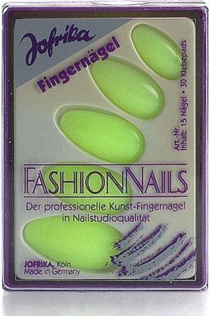 Jofrika Fingernägel Neon, gelb 15 Nägel mit 30 Klebepads 83716816
