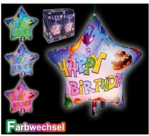 TIB Heyne Ballon LED Happy Birthday Farbwechsel, 1 Stk. ø 65 cm, Leuchtdauer ca. 20 Std. 88516997