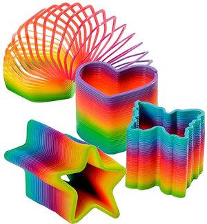 Kuenen Spiralfeder Regenbogen 8 cm, 4 Motive, Stern, Herz, Schmetterling und Hexagon 89010412