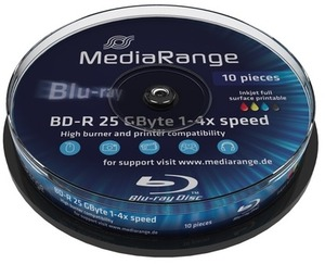 MediaRange Mediarang BD-R 4x Single Layer 25GB 10-Pck. MR496