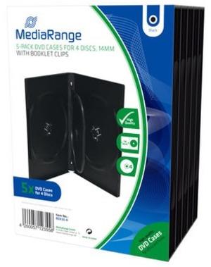 MediaRange DVD Ersatzhüllen, für 4 DVD-Medien, 5 Stück BOX35-4
