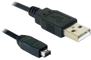 Delock USB-mini-Kabel 1.5m A-Mini4P, USB2, Schwarz 82208