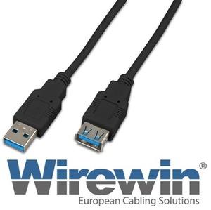 Wirewin USB3.0 Kabel, 0.5m, A-A, schwarz USB30A-AMF05SW