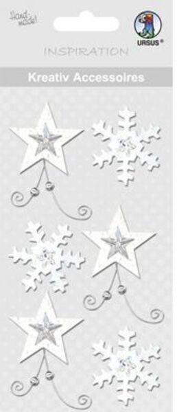 URSUS Weihnachtssticker Sterne silber 564000169