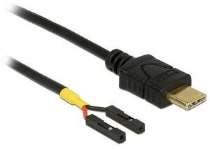 Delock USB Stromkabel USB-C zu 2x Postenbuchse 85396A1
