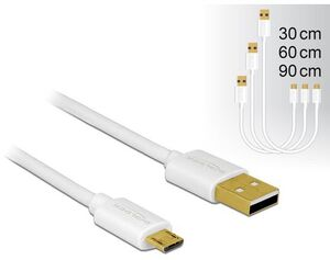 Delock USB2.0-Kabel A-MicroB 3-Set, 30,60,90cm 83679
