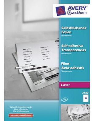 AVERY Zweckform 3480 Transparente, selbstklebende Folien, DIN A4, einseitig beschichtet, 100 Bogen 3480A2