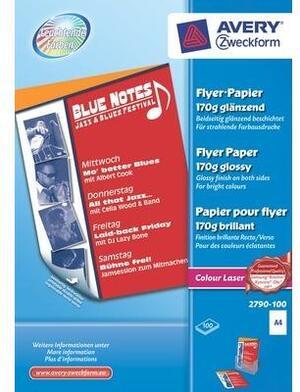 AVERY Zweckform 2790-100 Colour Laser Flyer-Papier, DIN A4, beidseitig beschichtet, 170 g/m², 100 Blatt 2790-100