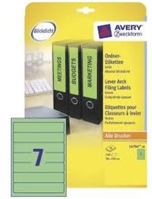 AVERY Zweckform L4764-20 Ordner-Etiketten, 38 x 192 mm, schmale Ordner (kurz), z.B. Leitz, Elba, Esselte, Mehle, Herlitz und Bene., 20 Bogen/140 Etiketten, grün L4764-20