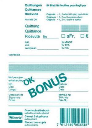 Favorit Quittungen OK BONUS D/F/I A6 8396OK