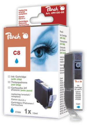 PEACH Tinte Canon CLI-8c cyan mit Chip PI100-66