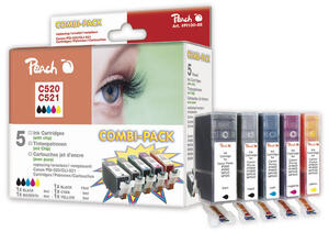 PEACH Tinten PGI520/CLI521 2xBK CMY PI100-85