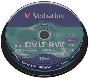 Verbatim DVD-RW 4.7GB, 10er Pack Spindel 43552