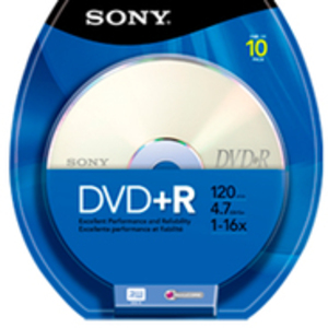 SONY DVD+R, 16X, SPINDLE 10 PCS 10DPR47SP