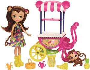 ENCHANTIMALS Merit Monkey Puppe und Obst-Stand FCG93