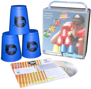 FlashCups Speed Stacking: (12 Stk., Blau) mit Lunchbox+DVD FLA01001