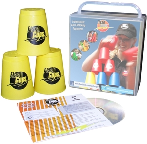 FlashCups Speed Stacking: (12 Stk., gelb) mit Lunchbox+DVD FLA01003