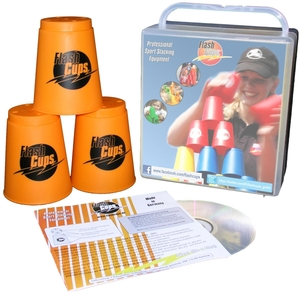 FlashCups Speed Stacking: (12 Stk.,orange) mit Lunchbox+DVD FLA01004