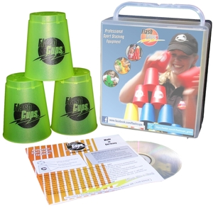 FlashCups Speed Stacking: (12 Stk., lemon) mit Lunchbox+DVD FLA01010