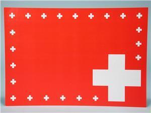 WECO 8 Tischsets CH, 40 x 28 cm, aus Papier, rot mit CH-Kreuz, in Folie 8190159