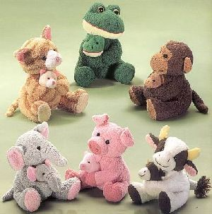 RUSS Chamois Mam und Baby 16cm ass. (Katze, Frosch, Kuh, Elefant, Schwein, Affe) 21023210