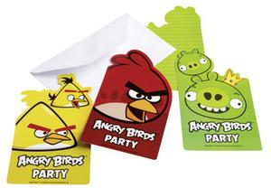 6 Einladungs-Sets Angry Birds 728552368
