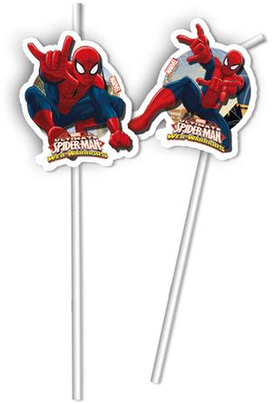 6 Trinkhalme Spiderman 24cm 72885159