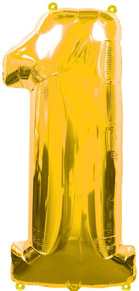 Amscan Folienballon Zahl 1 gold 76313734