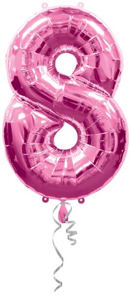 Anagram Folienballon Zahl 8 pink 76314428