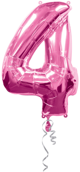 Anagram Folienballon Zahl 4 pink 76315515