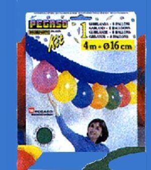 Kit Ballongirlande mit 8 Ballonen, Farben ass. 4m Länge 763356