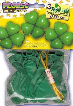 12 Ballone für 3 Kleeblätter vierblättrig grün 763553