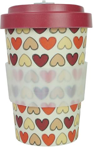 Bamboo Cup Retro Herzen rot