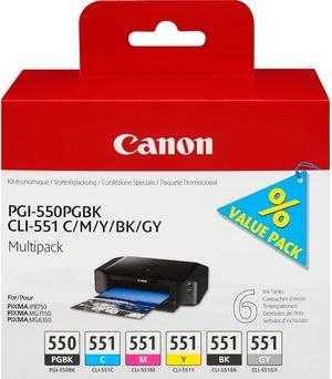 Canon Ink Cart.PGI-550/CLI-551 Multipack für MG6350/MG5450/ iP7250/MX925 PGBK/C/m/y/bk/gy (6496B005) 6496B005A1
