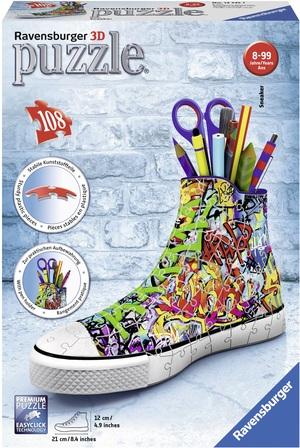 Ravensburger Puzzle 3D Sneaker Graffiti 108 Teile Kunststoff, 21x12 cm, ab 8 Jahren 60012535